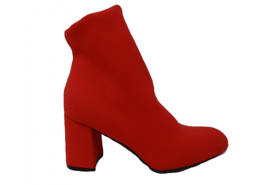 Ankle boot stretch dubbed - red - 1