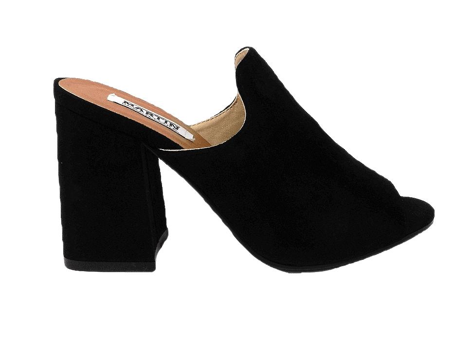 Sandal in faux suede, easy-on - black