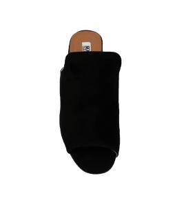 Sandal in faux suede, easy-on - black - 3