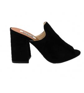 Sandal in faux suede, easy-on - black - 7