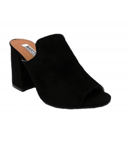 Sandal in faux suede, easy-on - black - 2