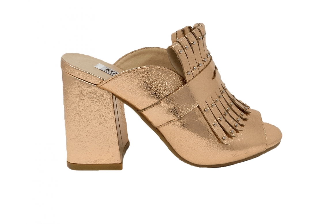 Shoe easy-on, with fringes and small studs - powder - 1