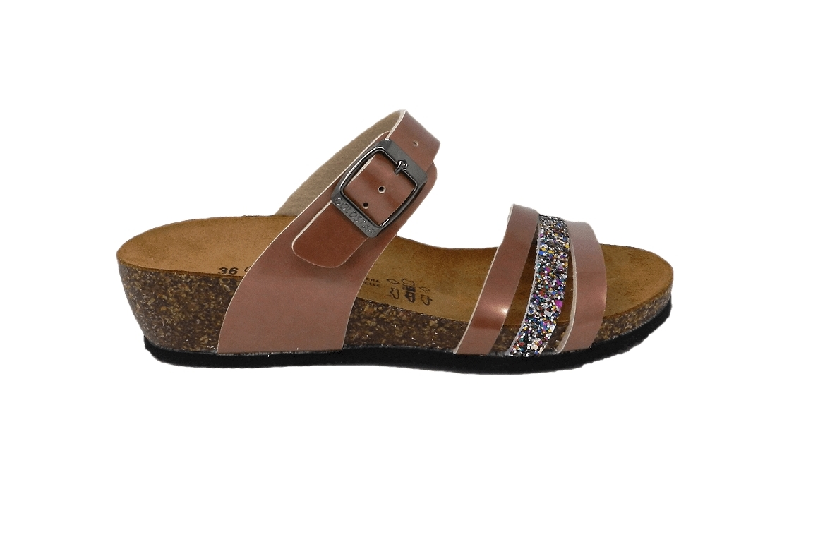 Slipper women's sand color in faux leather with glitter - 1