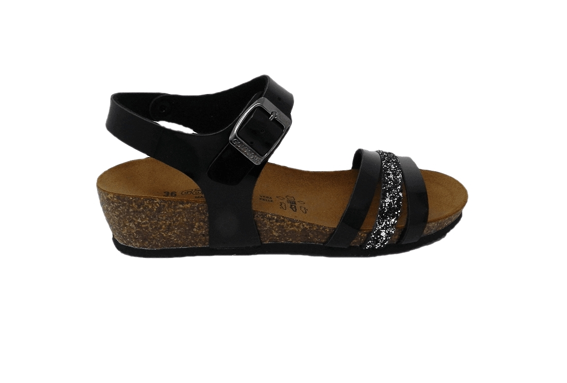 Slipper woman in faux leather with glitter - black - 1