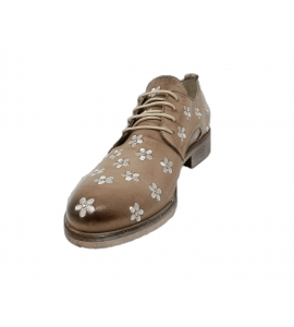 Lace-up shoes donna taupe color made of leather - 4