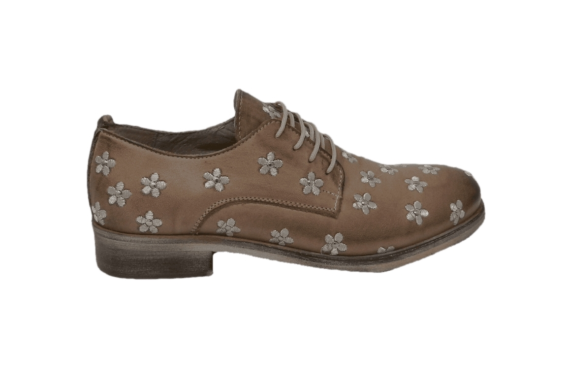Lace-up shoes donna taupe color made of leather - 1