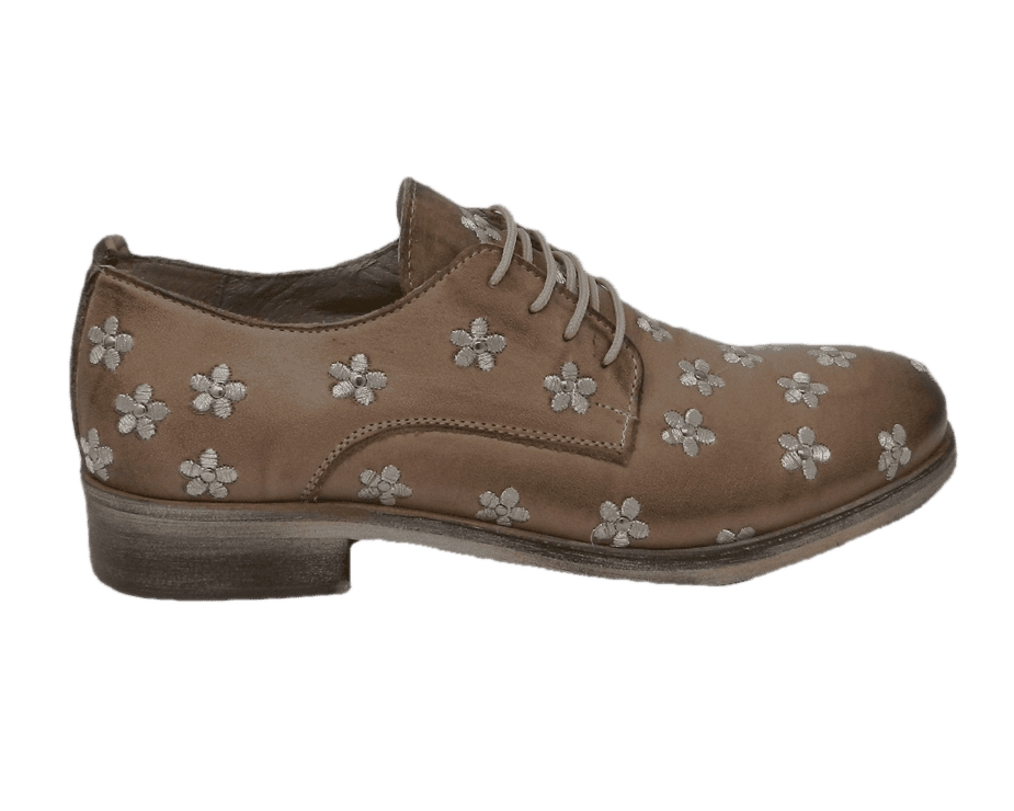 Lace-up shoes donna taupe color made of leather
