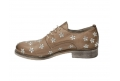 Lace-up shoes donna taupe color made of leather - 5