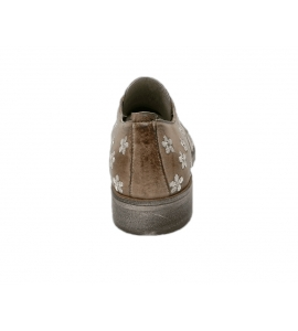 Lace-up shoes donna taupe color made of leather - 6