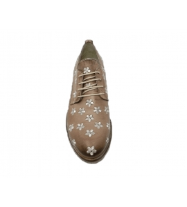 Lace-up shoes donna taupe color made of leather - 3
