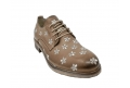 Lace-up shoes donna taupe color made of leather - 2