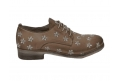 Lace-up shoes donna taupe color made of leather - 7