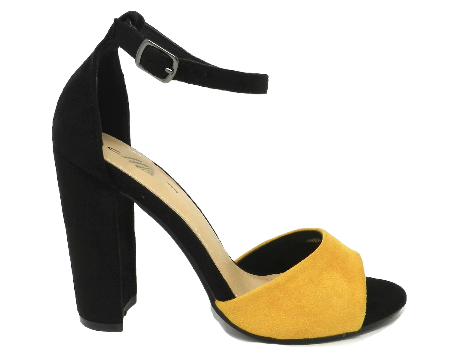 Seductive sandal women's faux leather suede two-tone - black yellow