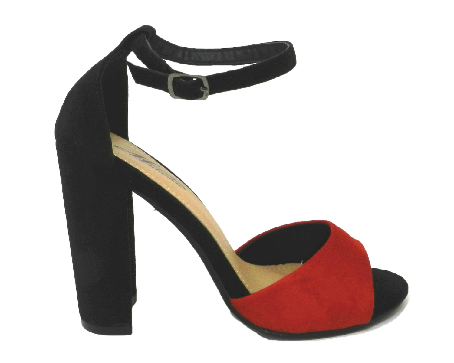 Seductive sandal women's faux leather sueded two-tone - red black