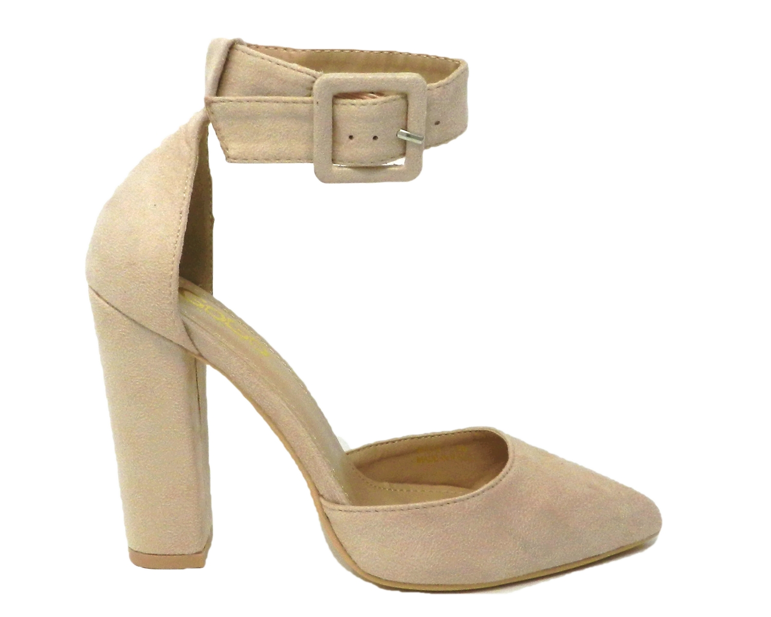Refined décolleté from the tip of the elongated leather-suede - beige