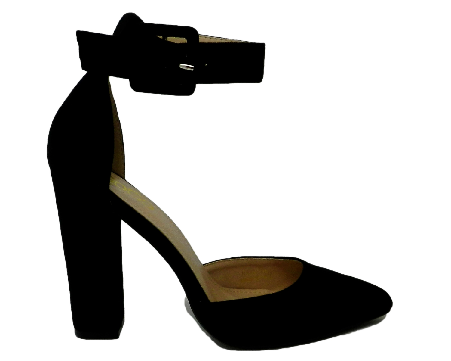 Refined décolleté in the elongated tip in faux suede - black