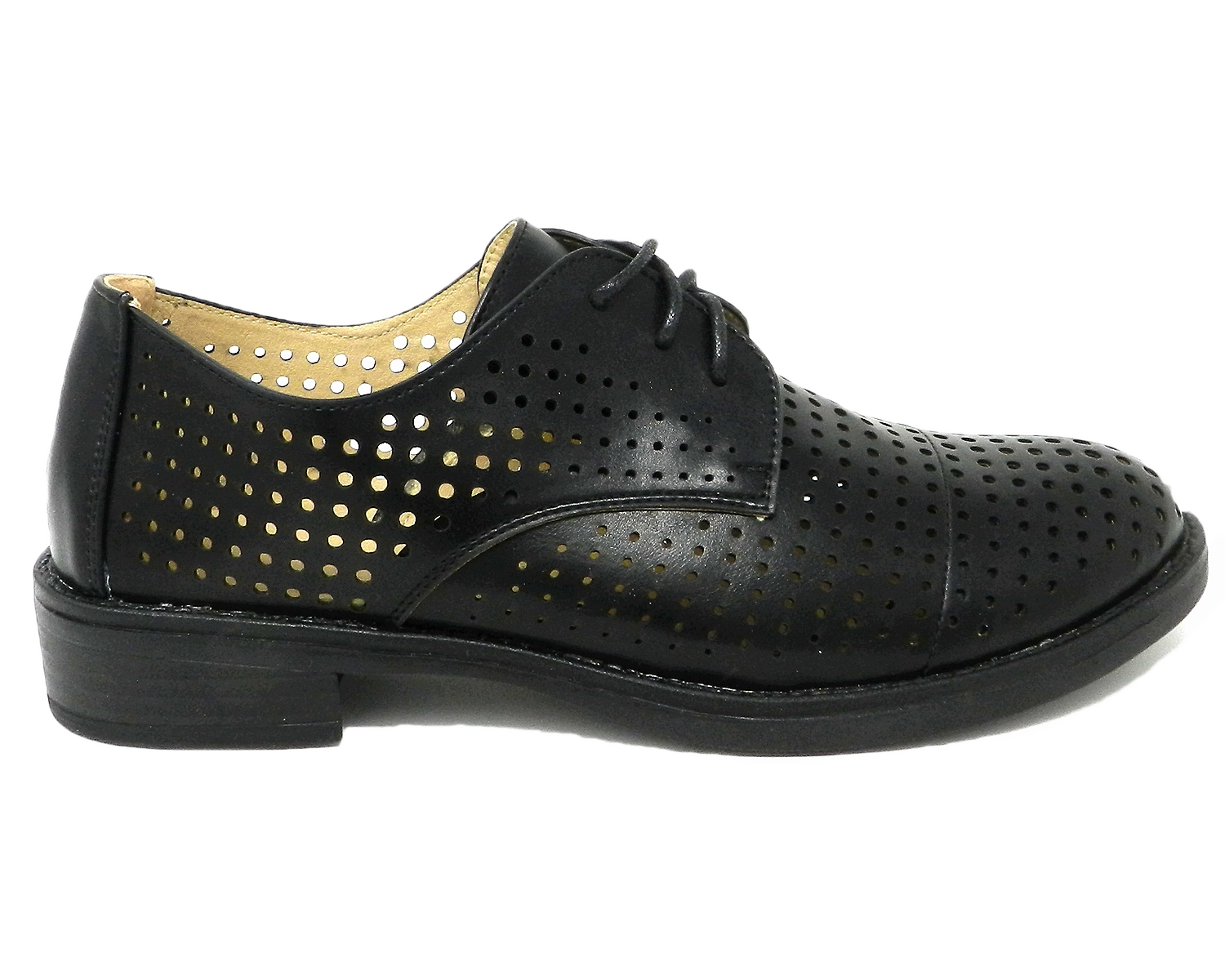 Francesina women's leather-perforated - black