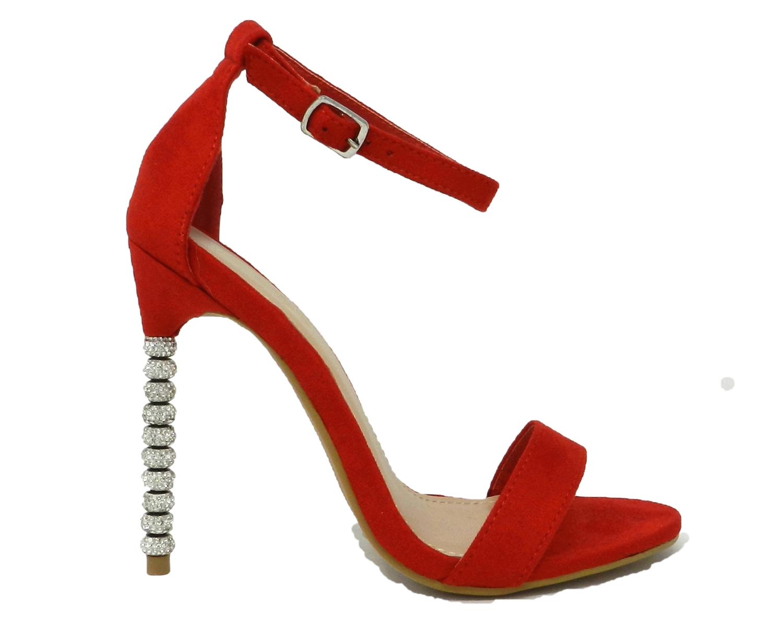 Elegant sandal women's faux leather suede high heel stiletto rhinestone - red