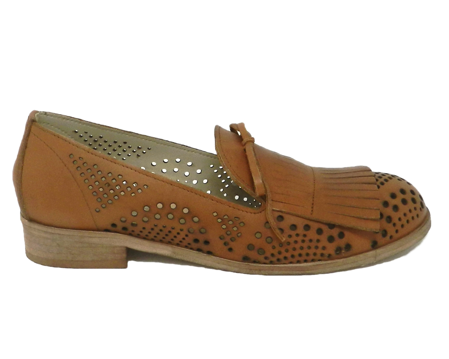 Moccasin women leather fully perforated - leather