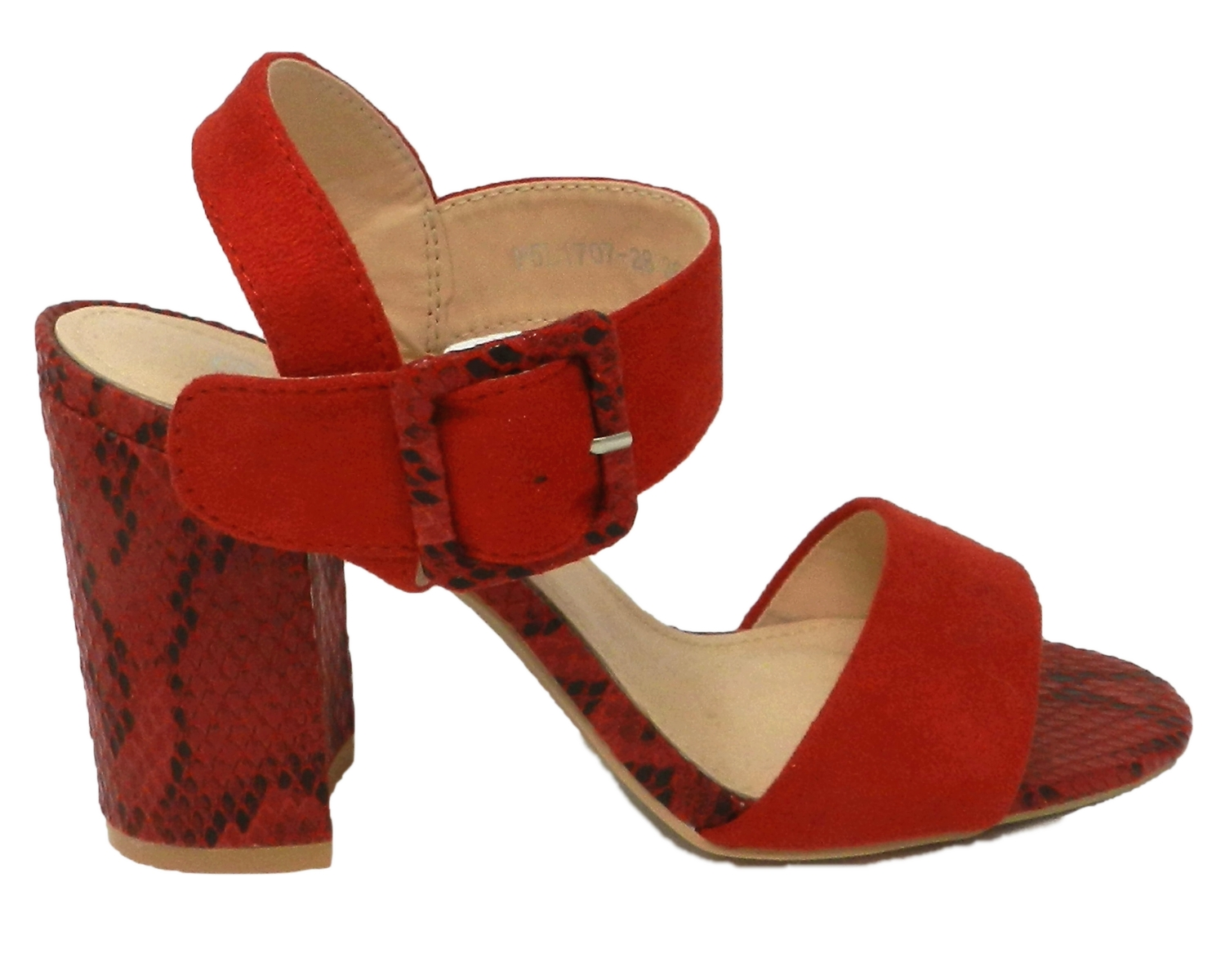Sophisticated sandal women's leather-trim python-print - red