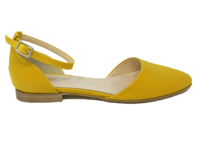 Shoe low women's faux leather open sides - yellow