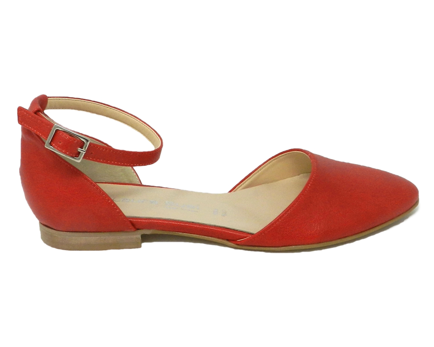 Shoe low women's faux leather open sides - red