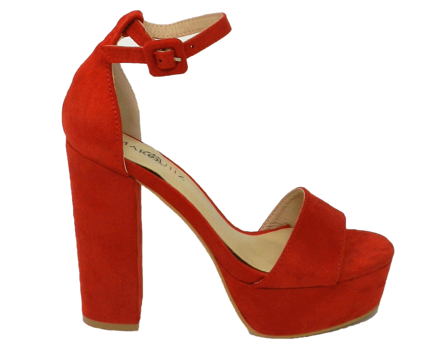 Sandal woman, with a platform in faux suede - red